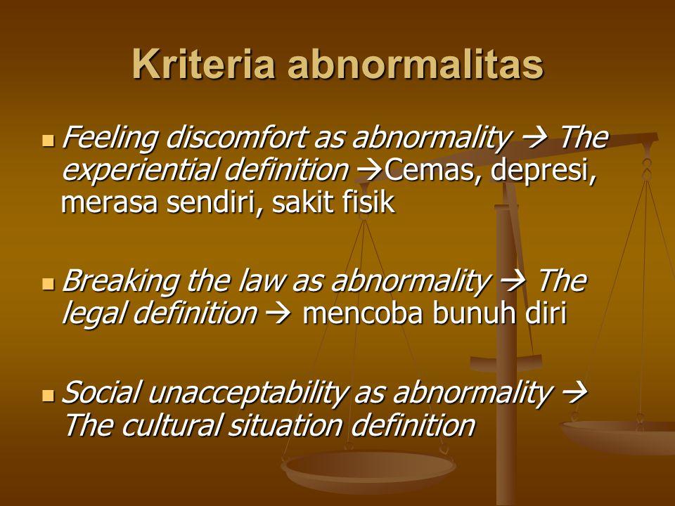 Kriteria abnormalitas Feeling discomfort as abnormality  The experiential definition  Cemas, depresi, merasa sendiri, sakit fisik Feeling discomfort