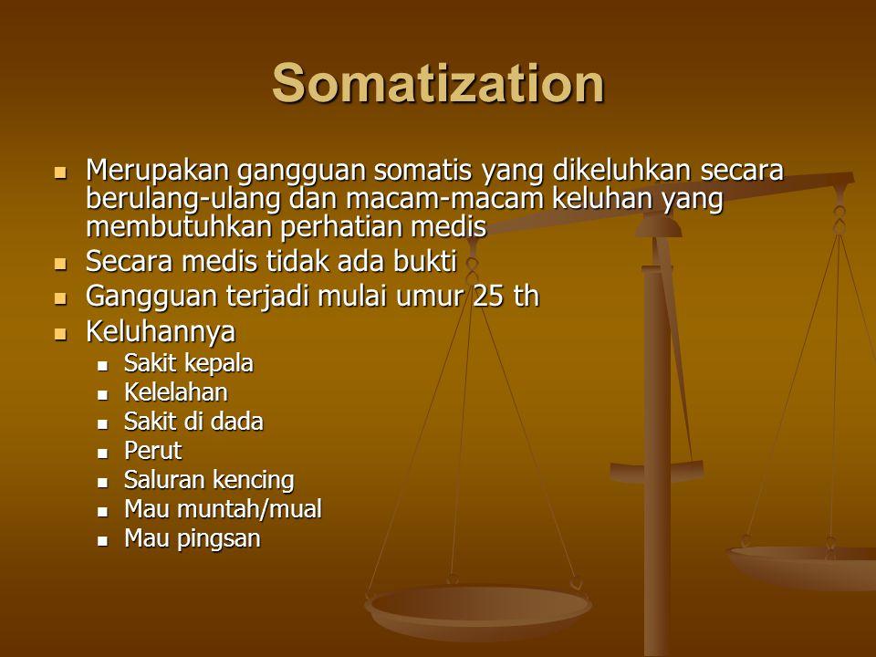 Somatization Merupakan gangguan somatis yang dikeluhkan secara berulang-ulang dan macam-macam keluhan yang membutuhkan perhatian medis Merupakan gangg