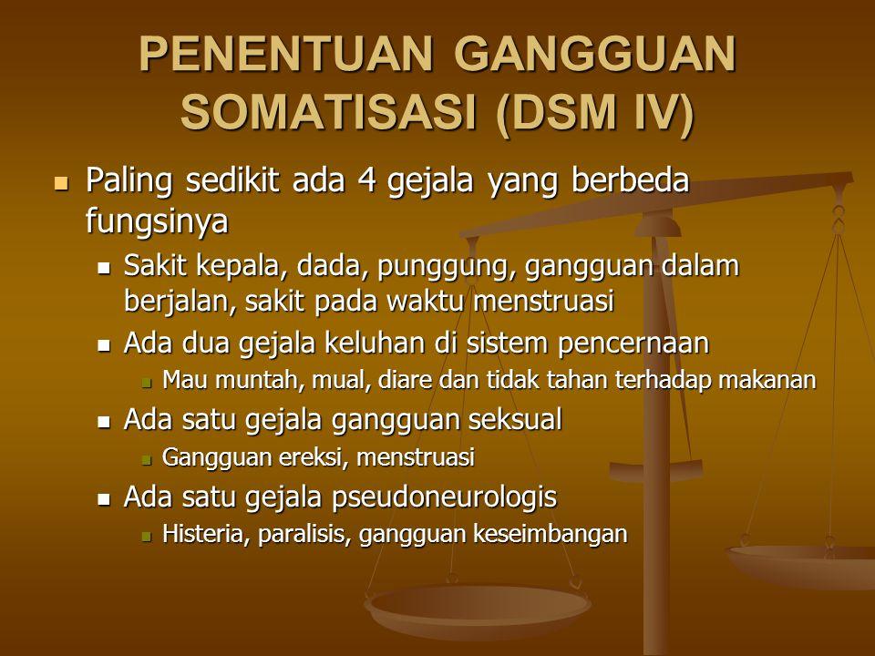 PENENTUAN GANGGUAN SOMATISASI (DSM IV) Paling sedikit ada 4 gejala yang berbeda fungsinya Paling sedikit ada 4 gejala yang berbeda fungsinya Sakit kep