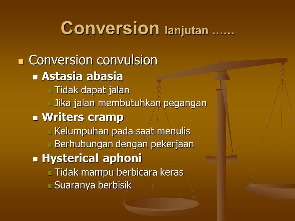 Conversion lanjutan …… Conversion convulsion Conversion convulsion Astasia abasia Astasia abasia Tidak dapat jalan Tidak dapat jalan Jika jalan membut
