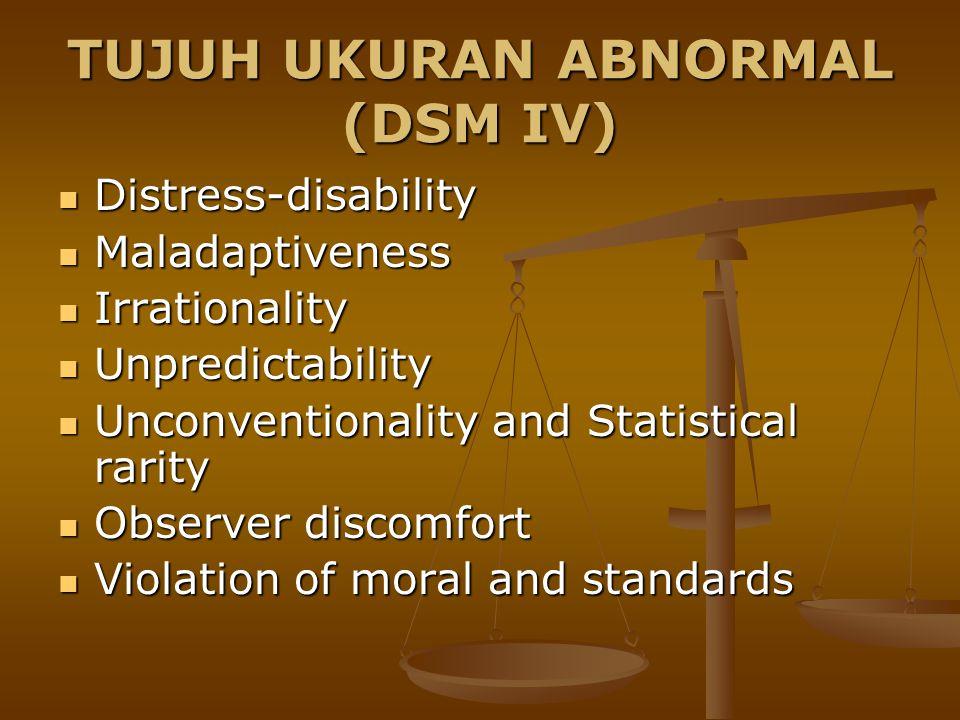 TUJUH UKURAN ABNORMAL (DSM IV) Distress-disability Distress-disability Maladaptiveness Maladaptiveness Irrationality Irrationality Unpredictability Un
