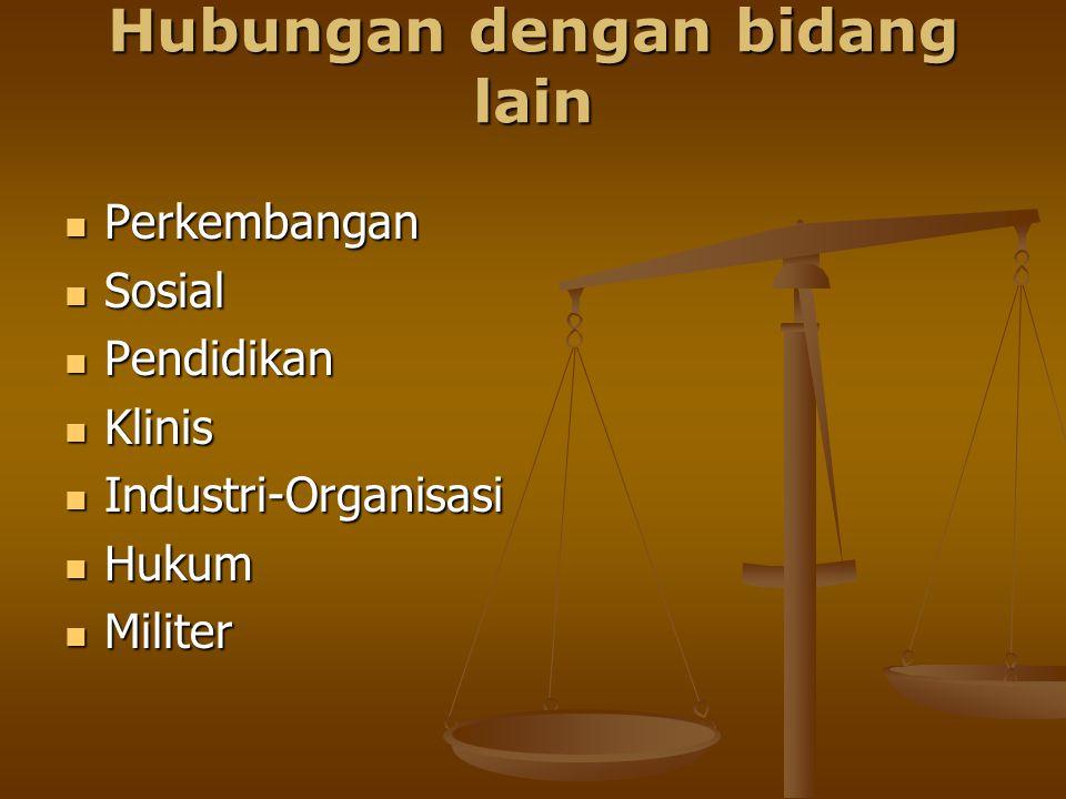 Hubungan dengan bidang lain Perkembangan Perkembangan Sosial Sosial Pendidikan Pendidikan Klinis Klinis Industri-Organisasi Industri-Organisasi Hukum