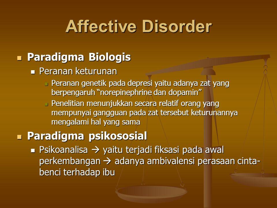 Affective Disorder Paradigma Biologis Paradigma Biologis Peranan keturunan Peranan keturunan Peranan genetik pada depresi yaitu adanya zat yang berpen
