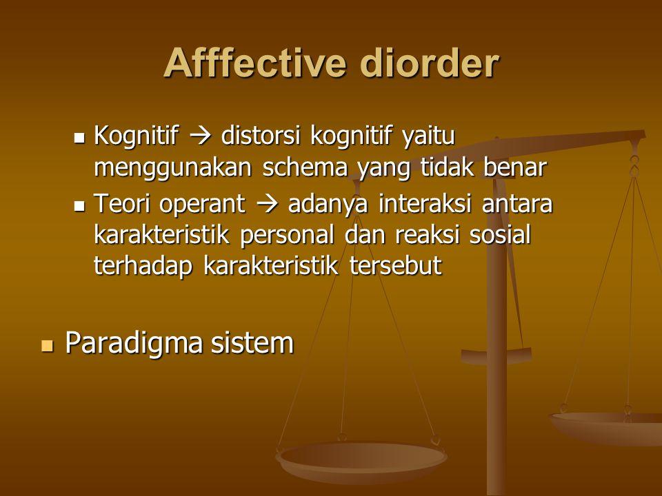 Afffective diorder Kognitif  distorsi kognitif yaitu menggunakan schema yang tidak benar Kognitif  distorsi kognitif yaitu menggunakan schema yang t