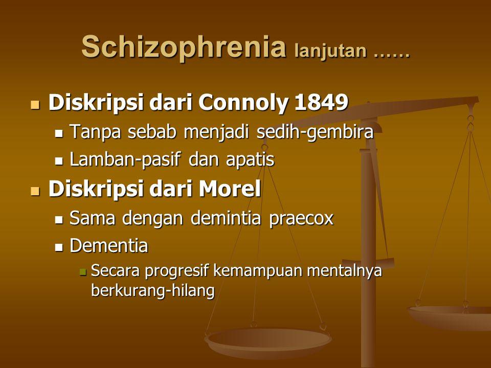 Schizophrenia lanjutan …… Diskripsi dari Connoly 1849 Diskripsi dari Connoly 1849 Tanpa sebab menjadi sedih-gembira Tanpa sebab menjadi sedih-gembira