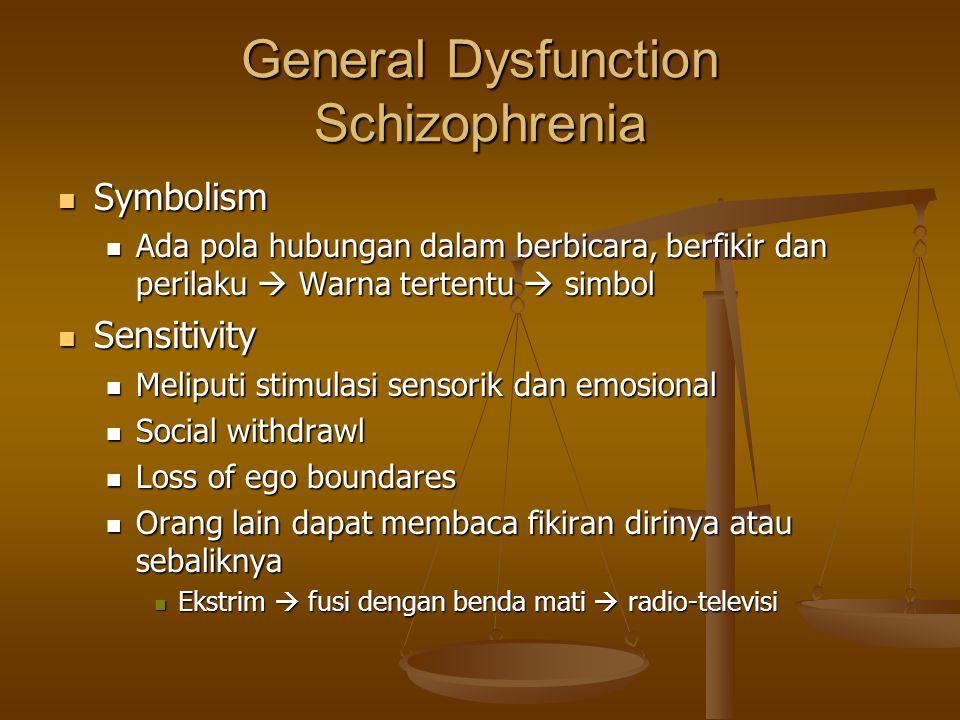 General Dysfunction Schizophrenia Symbolism Symbolism Ada pola hubungan dalam berbicara, berfikir dan perilaku  Warna tertentu  simbol Ada pola hubu