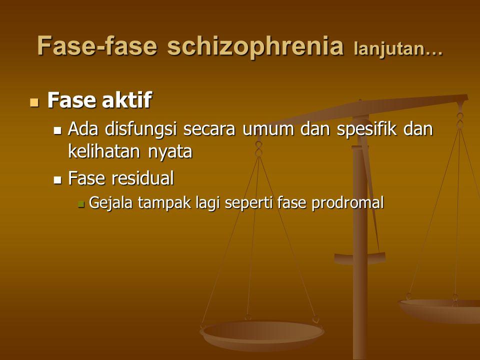 Fase-fase schizophrenia lanjutan… Fase aktif Fase aktif Ada disfungsi secara umum dan spesifik dan kelihatan nyata Ada disfungsi secara umum dan spesi