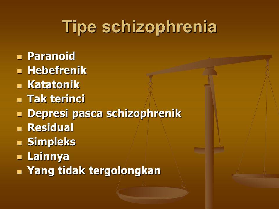 Tipe schizophrenia Paranoid Paranoid Hebefrenik Hebefrenik Katatonik Katatonik Tak terinci Tak terinci Depresi pasca schizophrenik Depresi pasca schiz