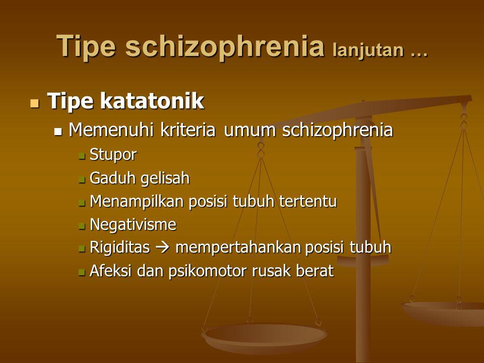 Tipe schizophrenia lanjutan … Tipe katatonik Tipe katatonik Memenuhi kriteria umum schizophrenia Memenuhi kriteria umum schizophrenia Stupor Stupor Ga