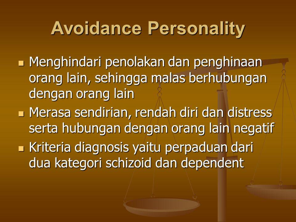 Avoidance Personality Menghindari penolakan dan penghinaan orang lain, sehingga malas berhubungan dengan orang lain Menghindari penolakan dan penghina