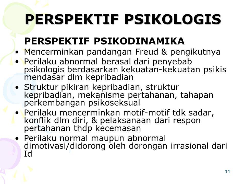 11 PERSPEKTIF PSIKOLOGIS PERSPEKTIF PSIKODINAMIKA Mencerminkan pandangan Freud & pengikutnya Perilaku abnormal berasal dari penyebab psikologis berdasarkan kekuatan-kekuatan psikis mendasar dlm kepribadian Struktur pikiran kepribadian, struktur kepribadian, mekanisme pertahanan, tahapan perkembangan psikoseksual Perilaku mencerminkan motif-motif tdk sadar, konflik dlm diri, & pelaksanaan dari respon pertahanan thdp kecemasan Perilaku normal maupun abnormal dimotivasi/didorong oleh dorongan irrasional dari Id