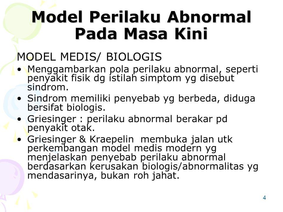 4 Model Perilaku Abnormal Pada Masa Kini MODEL MEDIS/ BIOLOGIS Menggambarkan pola perilaku abnormal, seperti penyakit fisik dg istilah simptom yg disebut sindrom.