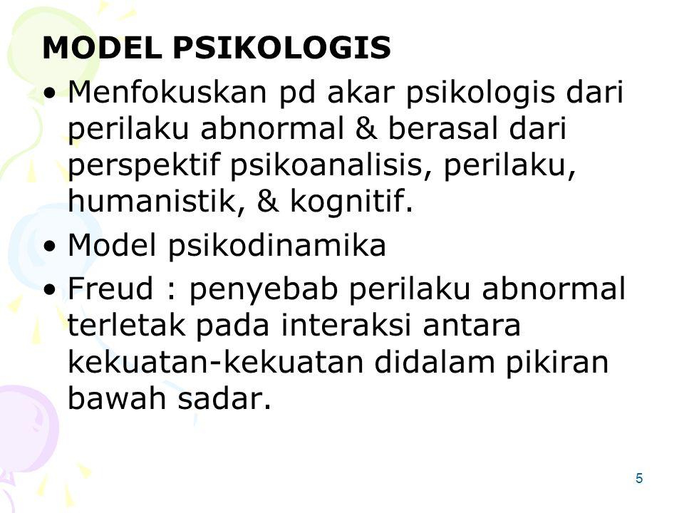 5 MODEL PSIKOLOGIS Menfokuskan pd akar psikologis dari perilaku abnormal & berasal dari perspektif psikoanalisis, perilaku, humanistik, & kognitif.