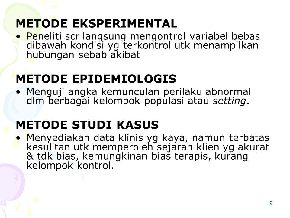 9 METODE EKSPERIMENTAL Peneliti scr langsung mengontrol variabel bebas dibawah kondisi yg terkontrol utk menampilkan hubungan sebab akibat METODE EPIDEMIOLOGIS Menguji angka kemunculan perilaku abnormal dlm berbagai kelompok populasi atau setting.