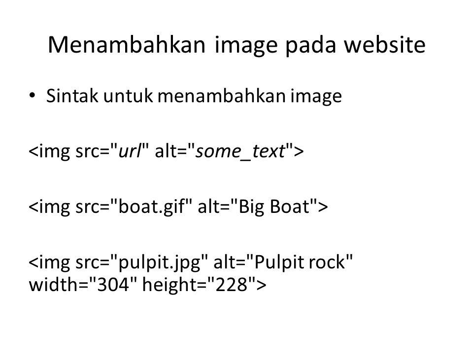 Menambahkan image pada website Sintak untuk menambahkan image