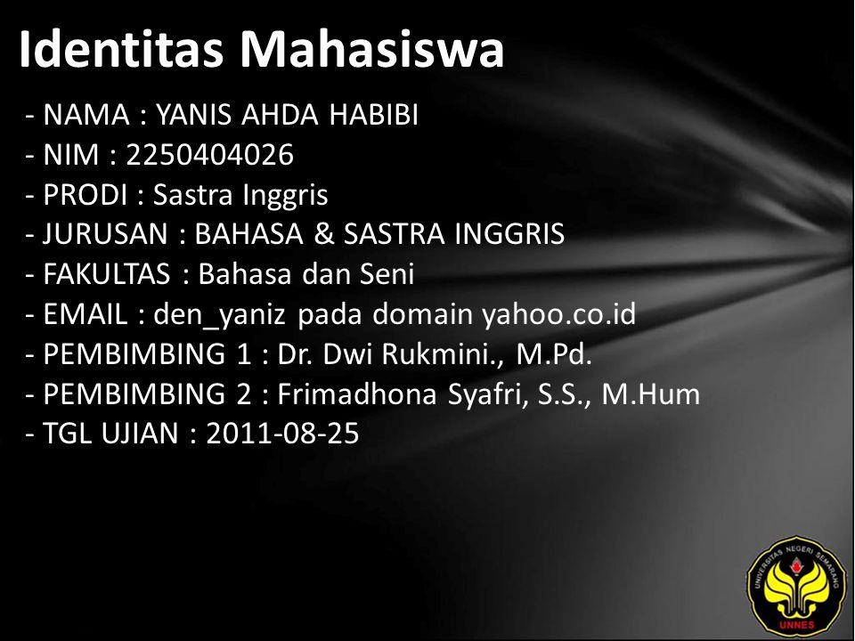 Identitas Mahasiswa - NAMA : YANIS AHDA HABIBI - NIM : 2250404026 - PRODI : Sastra Inggris - JURUSAN : BAHASA & SASTRA INGGRIS - FAKULTAS : Bahasa dan Seni - EMAIL : den_yaniz pada domain yahoo.co.id - PEMBIMBING 1 : Dr.