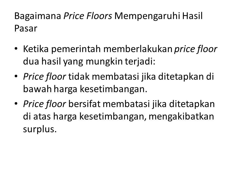 Bagaimana Price Floors Mempengaruhi Hasil Pasar Ketika pemerintah memberlakukan price floor dua hasil yang mungkin terjadi: Price floor tidak membatas