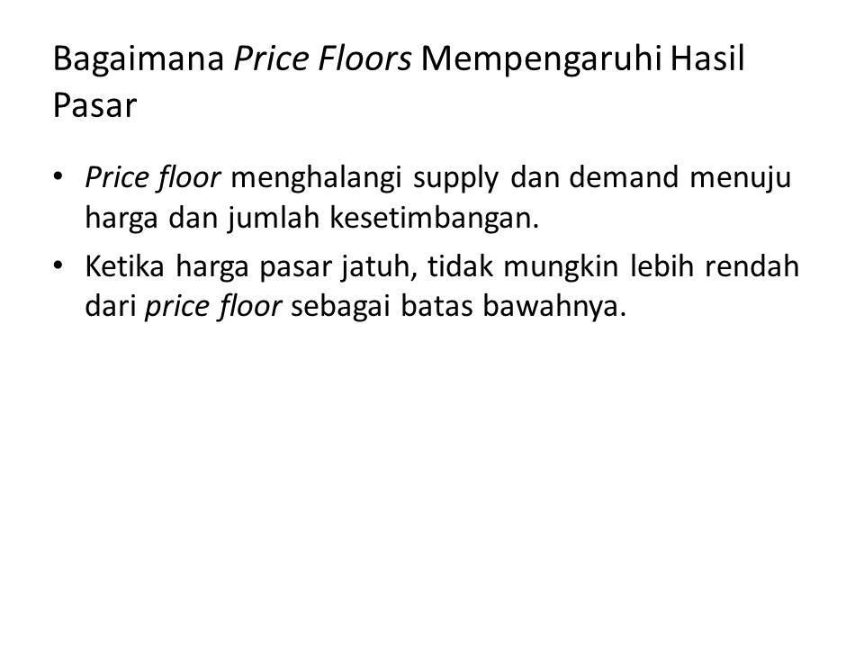 Bagaimana Price Floors Mempengaruhi Hasil Pasar Price floor menghalangi supply dan demand menuju harga dan jumlah kesetimbangan. Ketika harga pasar ja