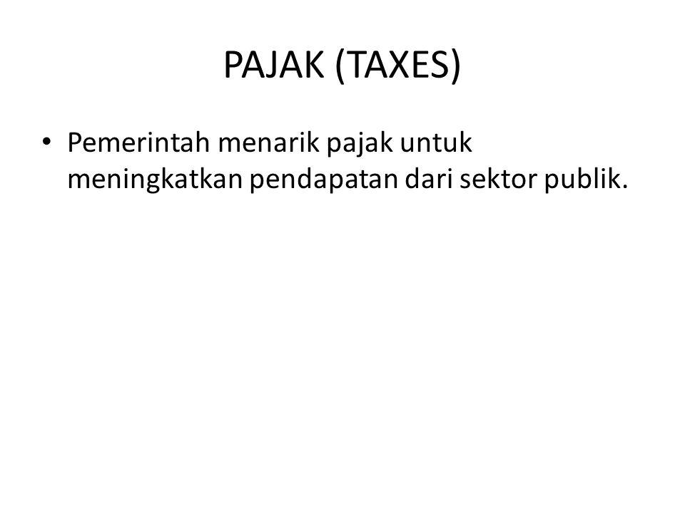 PAJAK (TAXES) Pemerintah menarik pajak untuk meningkatkan pendapatan dari sektor publik.
