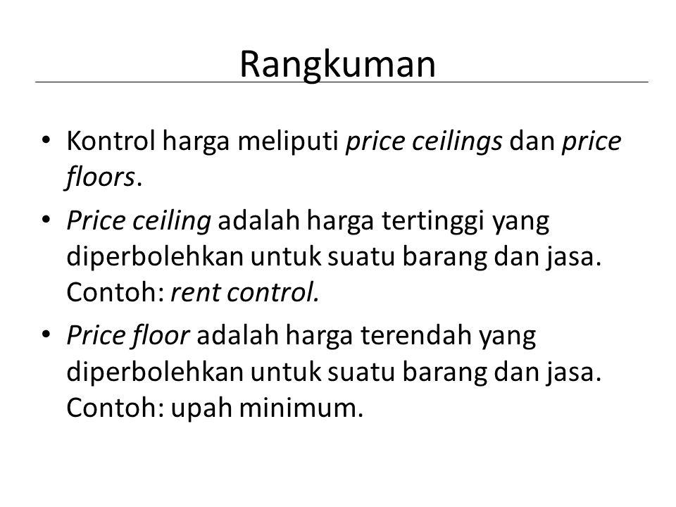 Rangkuman Kontrol harga meliputi price ceilings dan price floors. Price ceiling adalah harga tertinggi yang diperbolehkan untuk suatu barang dan jasa.