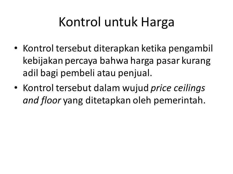 Kontrol untuk Harga Kontrol tersebut diterapkan ketika pengambil kebijakan percaya bahwa harga pasar kurang adil bagi pembeli atau penjual. Kontrol te