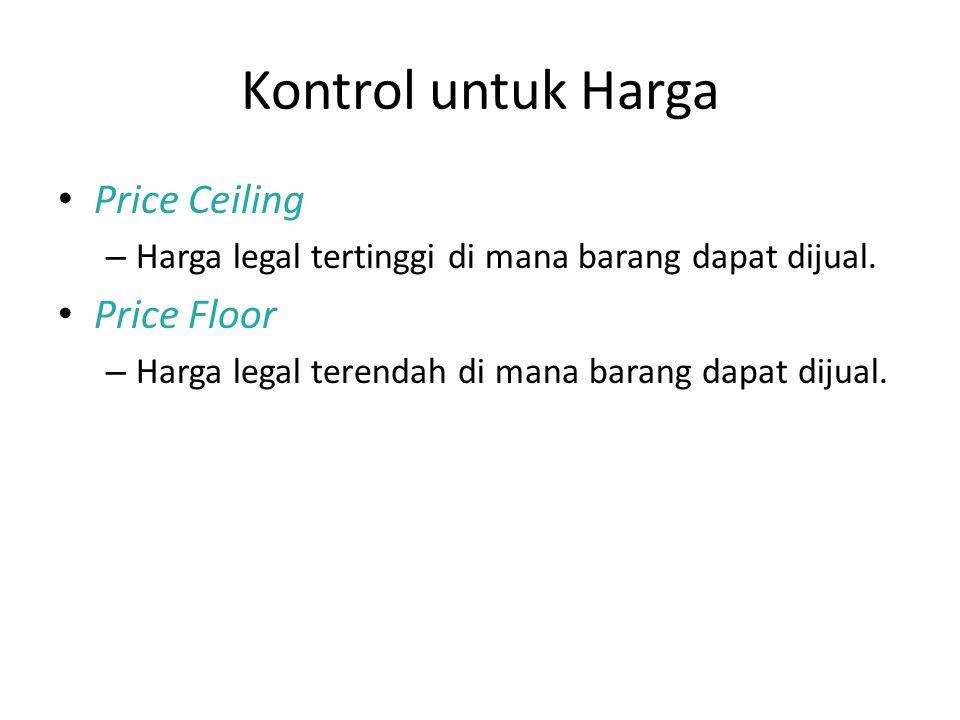 Kontrol untuk Harga Price Ceiling – Harga legal tertinggi di mana barang dapat dijual. Price Floor – Harga legal terendah di mana barang dapat dijual.