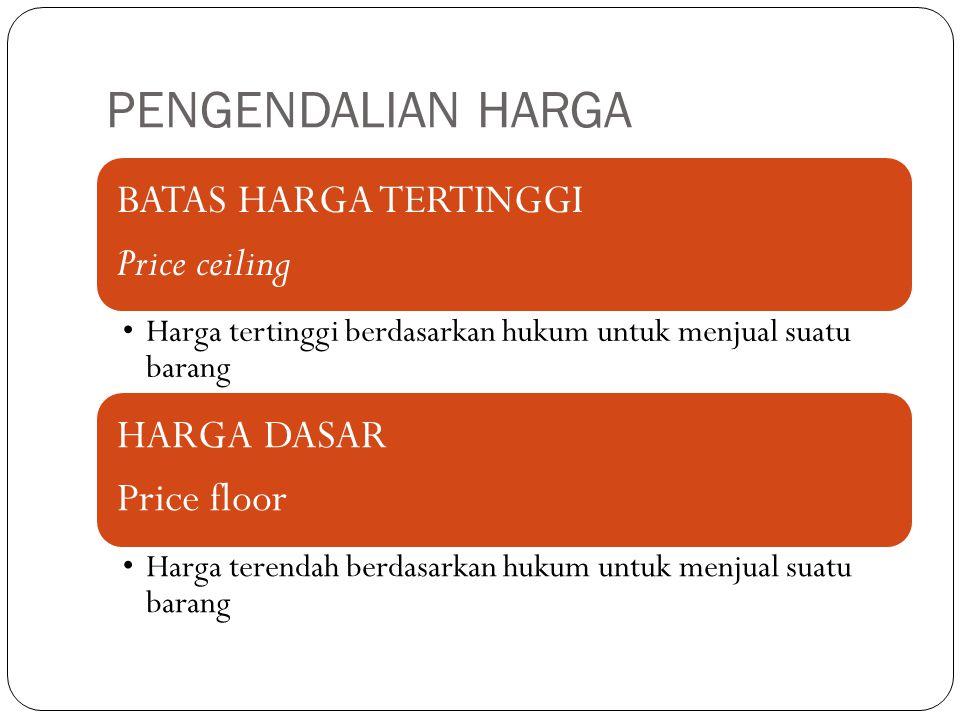 PENGENDALIAN HARGA BATAS HARGA TERTINGGI Price ceiling Harga tertinggi berdasarkan hukum untuk menjual suatu barang HARGA DASAR Price floor Harga tere