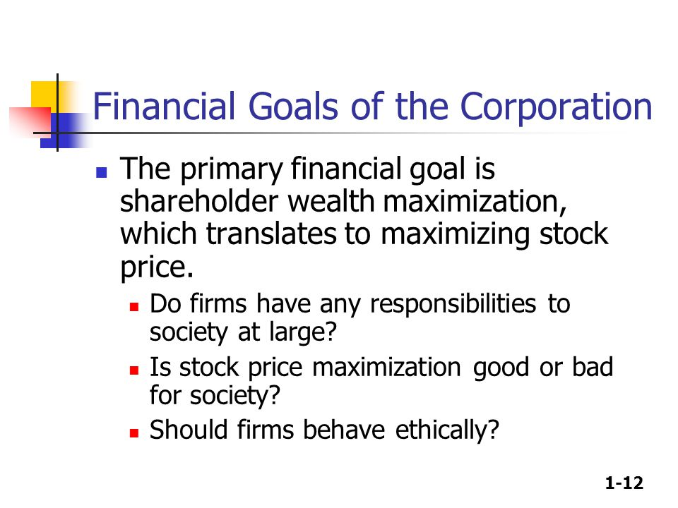 1-12 Financial Goals of the Corporation The primary financial goal is shareholder wealth maximization, which translates to maximizing stock price. Do