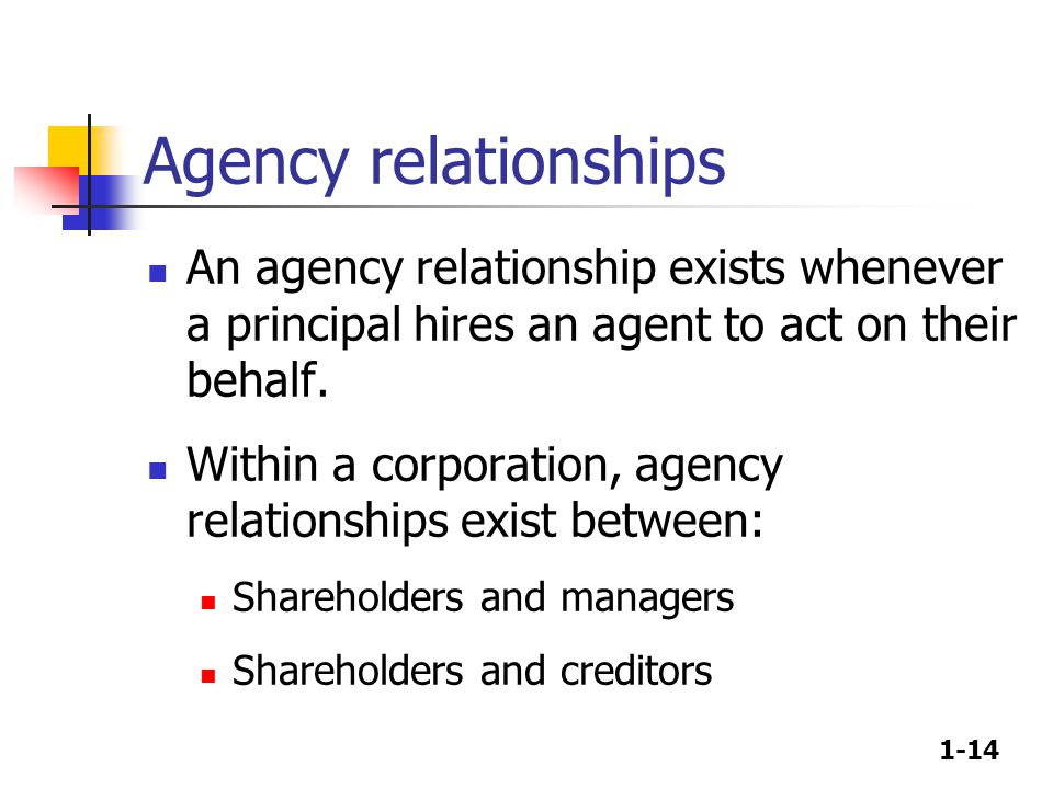 1-14 Agency relationships An agency relationship exists whenever a principal hires an agent to act on their behalf.