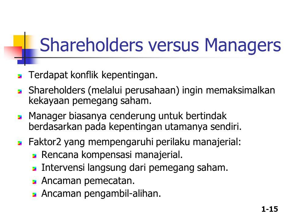 1-15 Terdapat konflik kepentingan. Shareholders (melalui perusahaan) ingin memaksimalkan kekayaan pemegang saham. Manager biasanya cenderung untuk ber