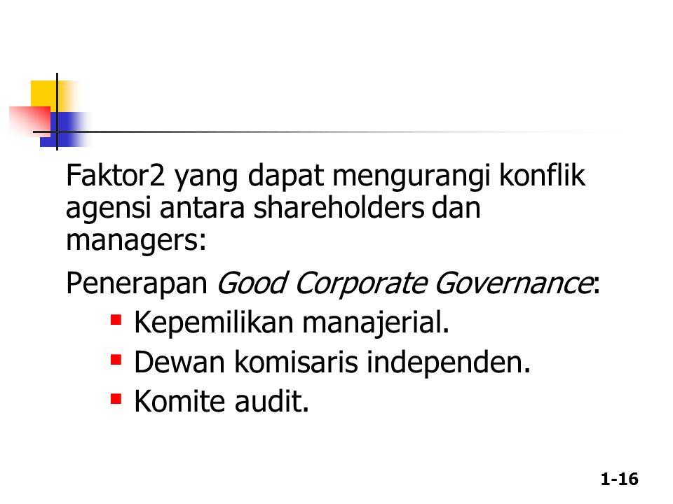 1-16 Faktor2 yang dapat mengurangi konflik agensi antara shareholders dan managers: Penerapan Good Corporate Governance:  Kepemilikan manajerial.  D