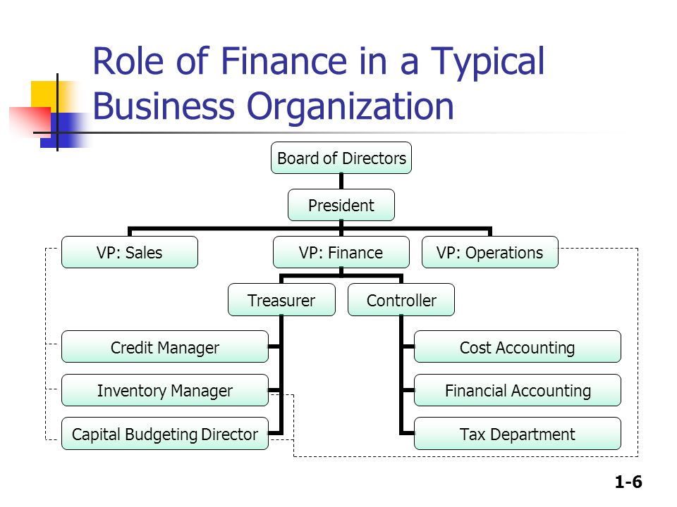 1-6 Role of Finance in a Typical Business Organization