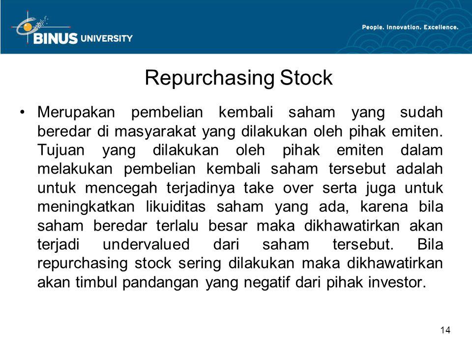 Repurchasing Stock Merupakan pembelian kembali saham yang sudah beredar di masyarakat yang dilakukan oleh pihak emiten. Tujuan yang dilakukan oleh pih