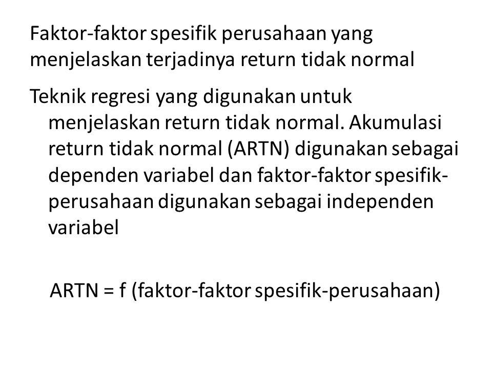 Faktor-faktor spesifik perusahaan yang menjelaskan terjadinya return tidak normal Teknik regresi yang digunakan untuk menjelaskan return tidak normal.