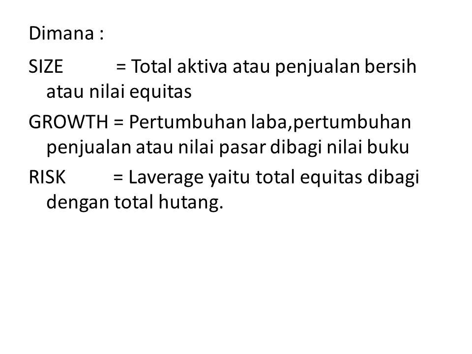 Dimana : SIZE = Total aktiva atau penjualan bersih atau nilai equitas GROWTH = Pertumbuhan laba,pertumbuhan penjualan atau nilai pasar dibagi nilai bu