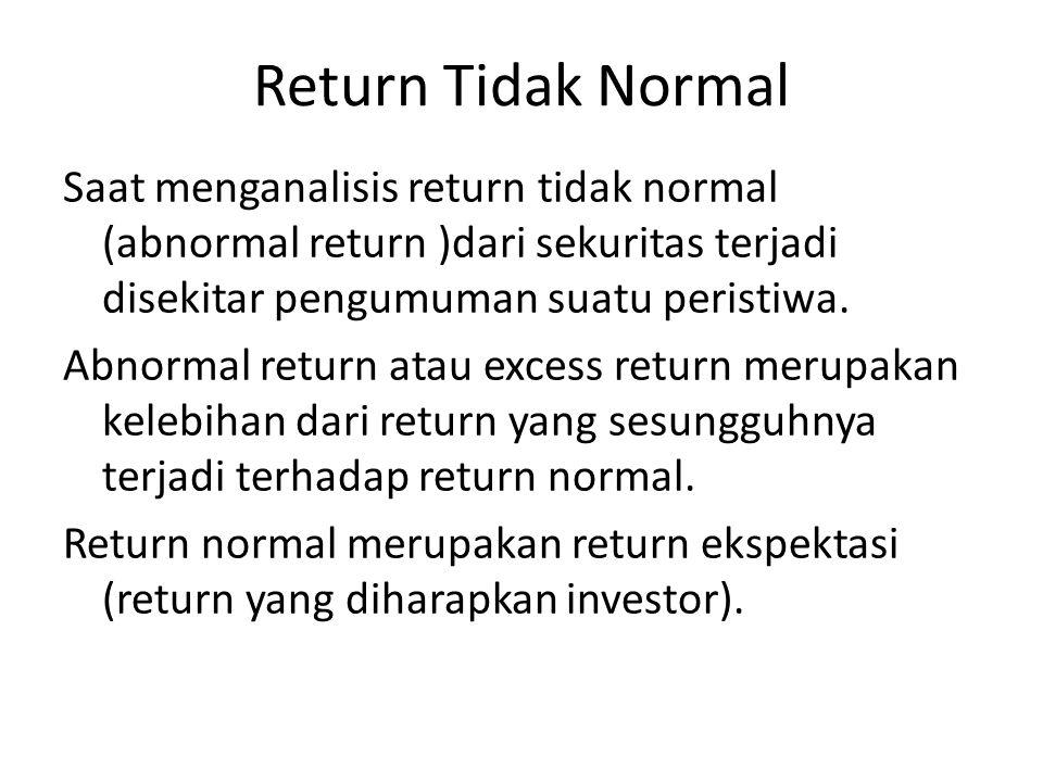 Return Tidak Normal Saat menganalisis return tidak normal (abnormal return )dari sekuritas terjadi disekitar pengumuman suatu peristiwa. Abnormal retu