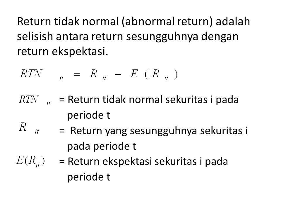 Return ekspektasi merupakan return yang harus di estimasi, dengan rumus : = Return ekspektasi sekuritas i pada periode t = Return yang sesungguhnya sekuritas i pada periode t T = Lamanya periode estimasi