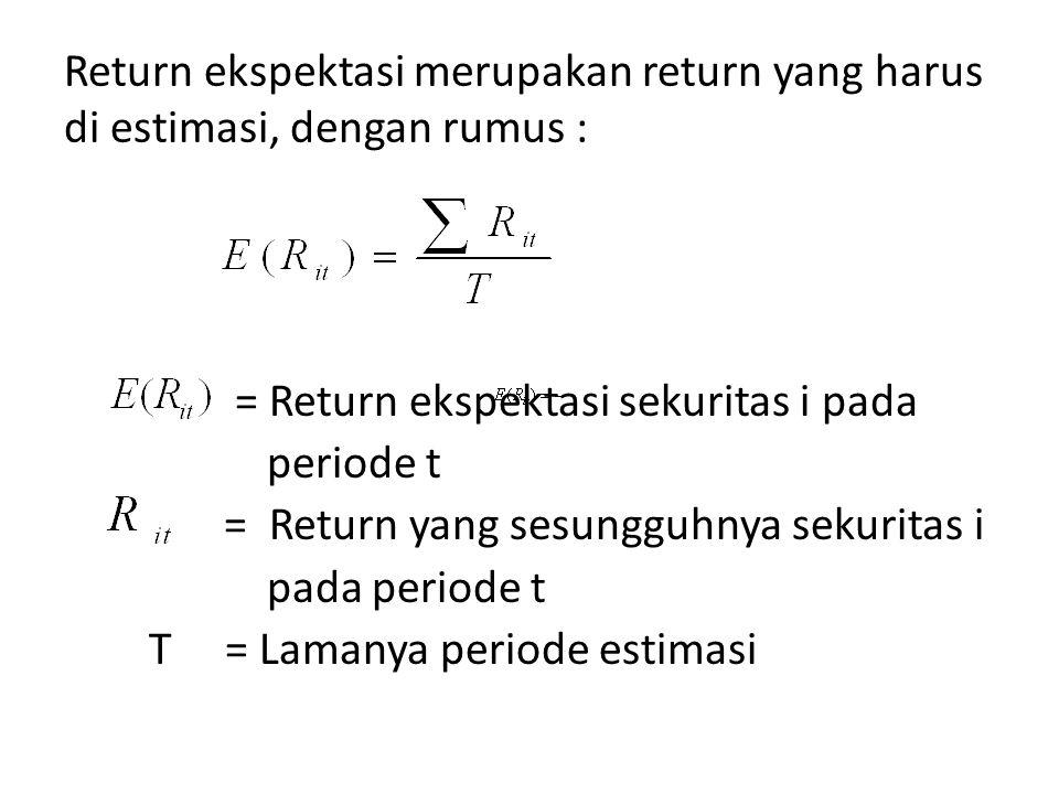 Return ekspektasi merupakan return yang harus di estimasi, dengan rumus : = Return ekspektasi sekuritas i pada periode t = Return yang sesungguhnya se