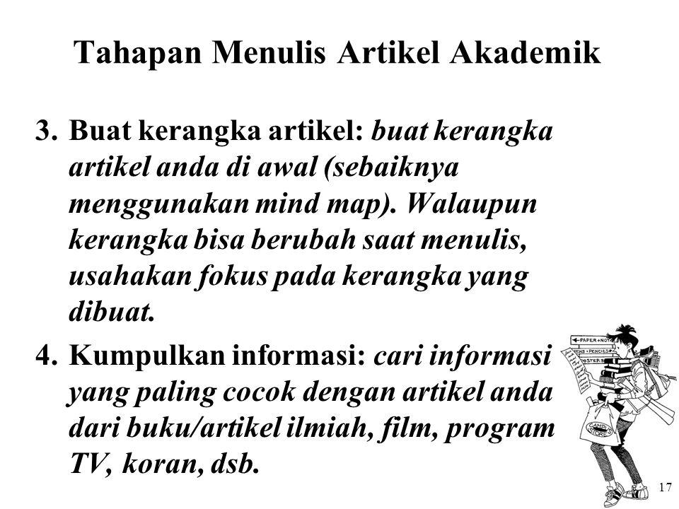 Tahapan Menulis Artikel Akademik 3.Buat kerangka artikel: buat kerangka artikel anda di awal (sebaiknya menggunakan mind map). Walaupun kerangka bisa