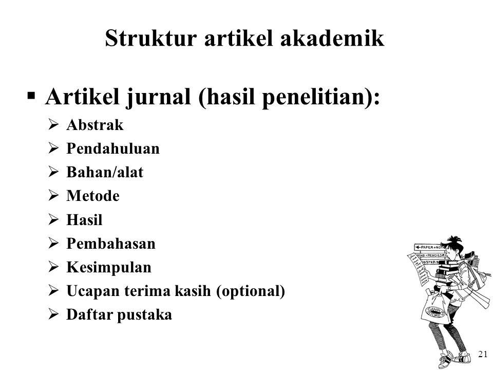 Struktur artikel akademik  Artikel jurnal (hasil penelitian):  Abstrak  Pendahuluan  Bahan/alat  Metode  Hasil  Pembahasan  Kesimpulan  Ucapan terima kasih (optional)  Daftar pustaka 21