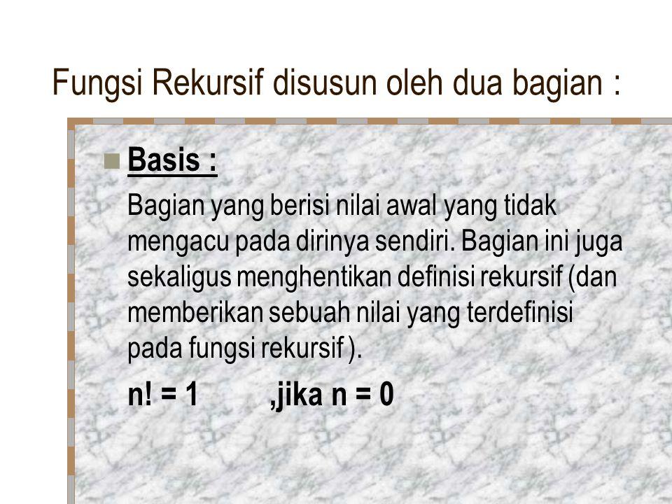 Fungsi Rekursif disusun oleh dua bagian : Basis : Bagian yang berisi nilai awal yang tidak mengacu pada dirinya sendiri.