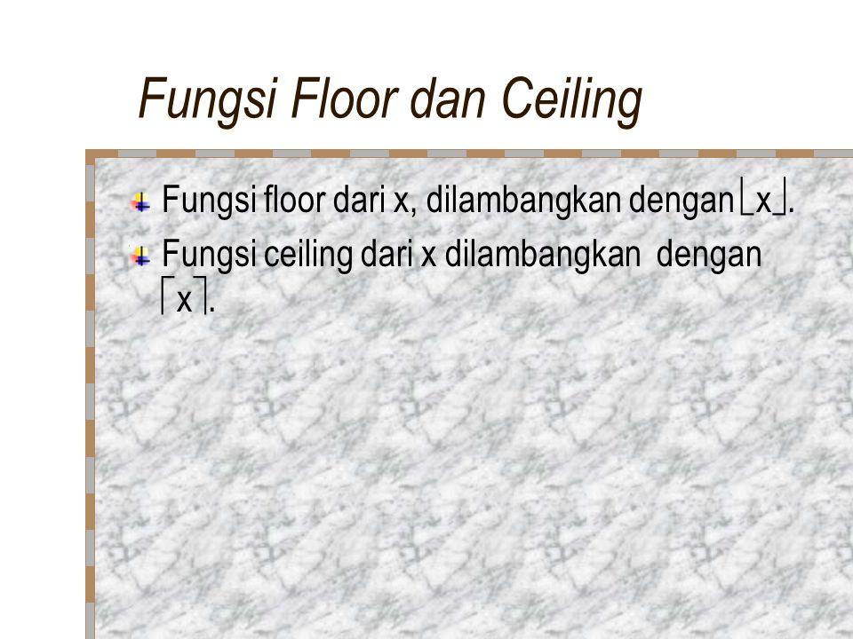 Fungsi Floor dan Ceiling Fungsi floor dari x, dilambangkan dengan  x .