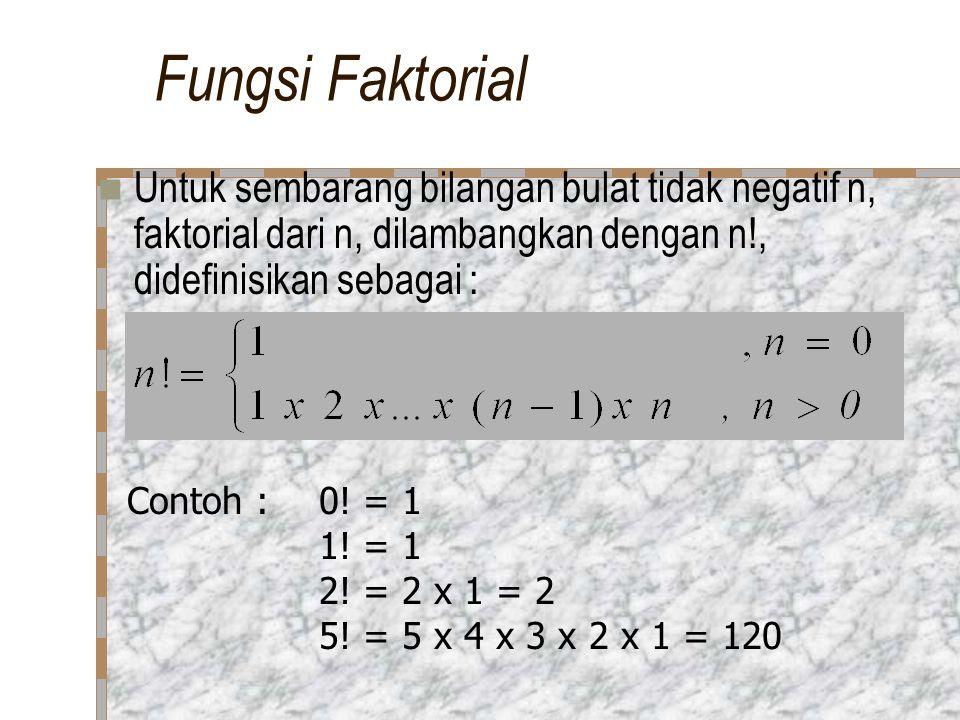 Fungsi Faktorial Untuk sembarang bilangan bulat tidak negatif n, faktorial dari n, dilambangkan dengan n!, didefinisikan sebagai : Contoh :0.