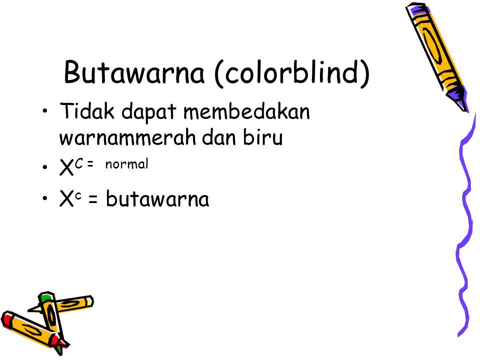 Butawarna (colorblind) Tidak dapat membedakan warnammerah dan biru X C = normal X c = butawarna