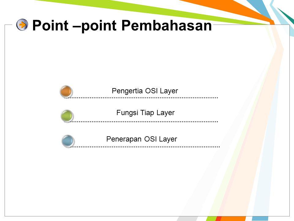 Point –point Pembahasan Pengertia OSI Layer Fungsi Tiap Layer Penerapan OSI Layer