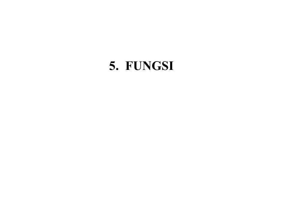5.4 Fungsi penting lainnya 5.4.1 Fungsi Floor dan Ceiling Definisi Fungsi floor x, dilambangkan dengan, menyatakan bilangan bulat terbesar yang lebih kecil atau sama dengan x Fungsi ceiling x, dilambangkan dengan, menyatakan bilangan bulat terkecil yang lebih besar atau sama dengan x.