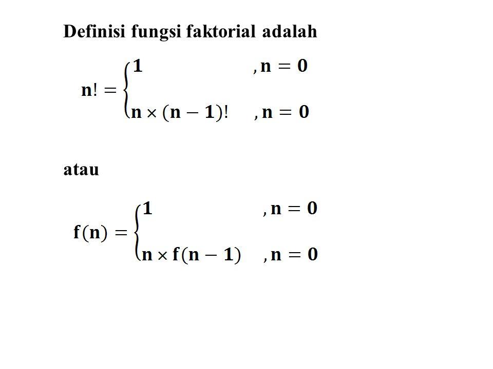 Definisi fungsi faktorial adalah atau