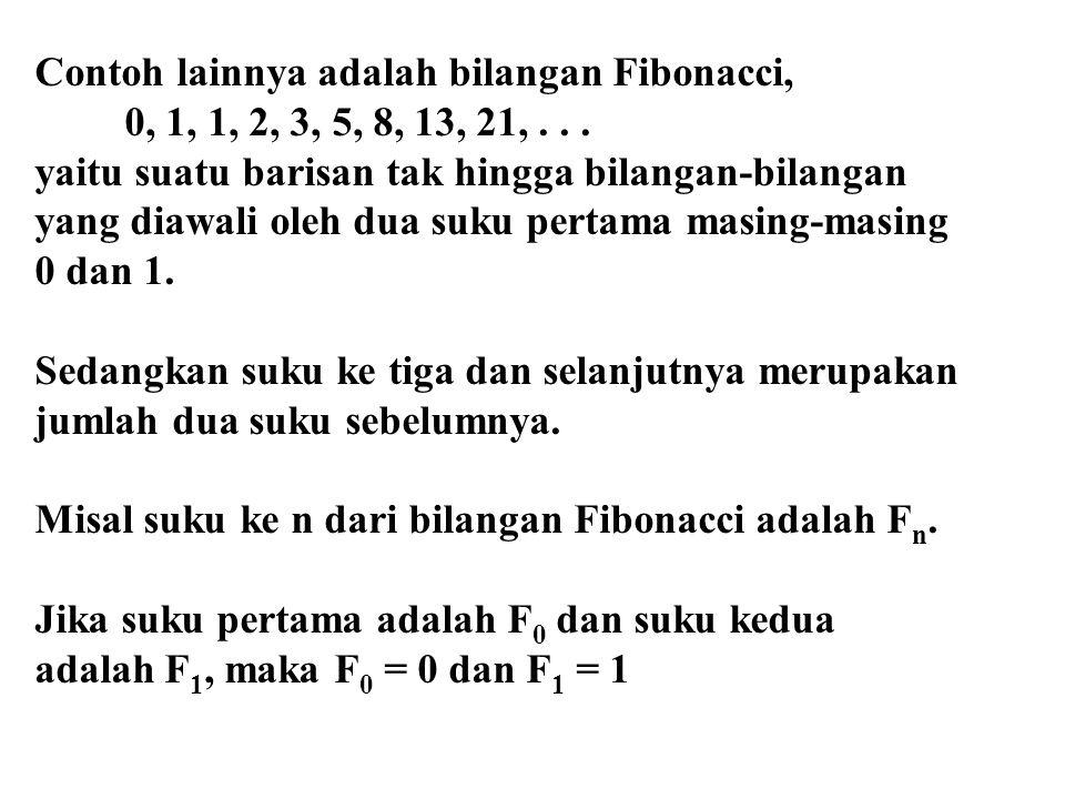 Contoh lainnya adalah bilangan Fibonacci, 0, 1, 1, 2, 3, 5, 8, 13, 21,... yaitu suatu barisan tak hingga bilangan-bilangan yang diawali oleh dua suku