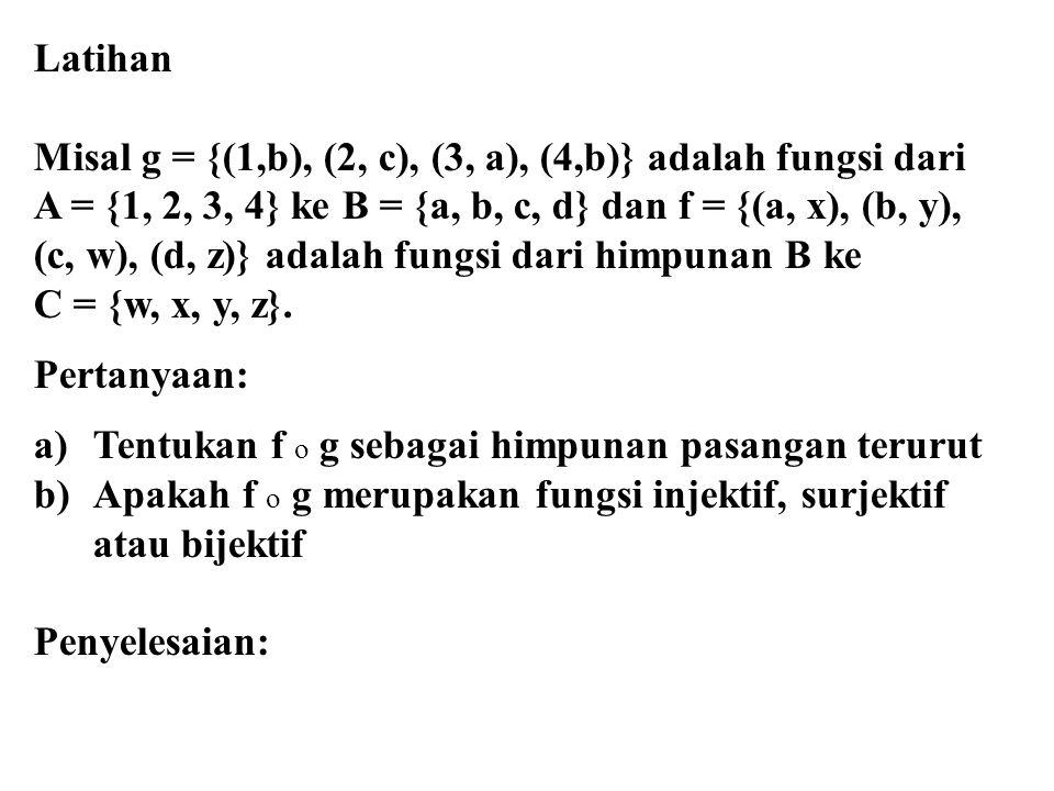 Latihan Misal g = {(1,b), (2, c), (3, a), (4,b)} adalah fungsi dari A = {1, 2, 3, 4} ke B = {a, b, c, d} dan f = {(a, x), (b, y), (c, w), (d, z)} adal