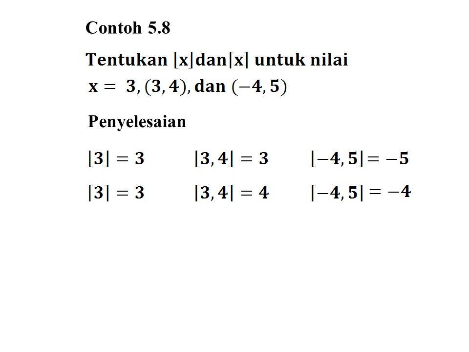 5.4.2 Fungsi Modulo Fungsi Modulo adalah suatu jenis fungsi yang mempunyai hubungan dengan sisa hasil bagi antara dua buah bilangan bulat.